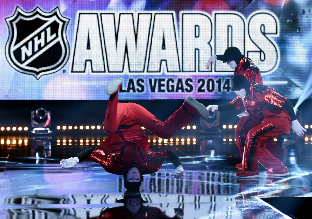 LAS VEGAS, NV - JUNE 24:  Members of the Jabbawockeez dance crew perform during the 2014 NHL Awards at the Encore Theater at Wynn Las Vegas on June 24, 2014 in Las Vegas, Nevada.  (Photo by Ethan Miller/Getty Images)