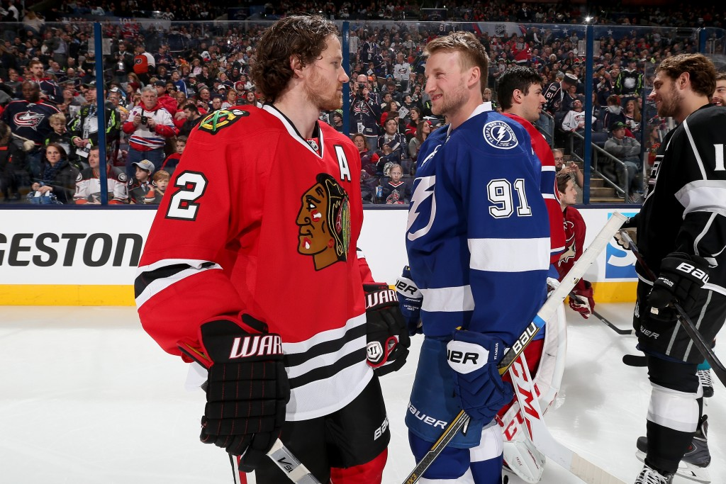 COLUMBUS, OH - JANUARY 24:  Duncan Keith #2 of the Chicago Blackhawks and Team Foligno talks with Steven Stamkos #91 of the Tampa Bay Lightning and Team Foligno during the AMP NHL Hardest Shot event of the 2015 Honda NHL All-Star Skills Competition at Nationwide Arena on January 24, 2015 in Columbus, Ohio.  (Photo by Bruce Bennett/Getty Images)
