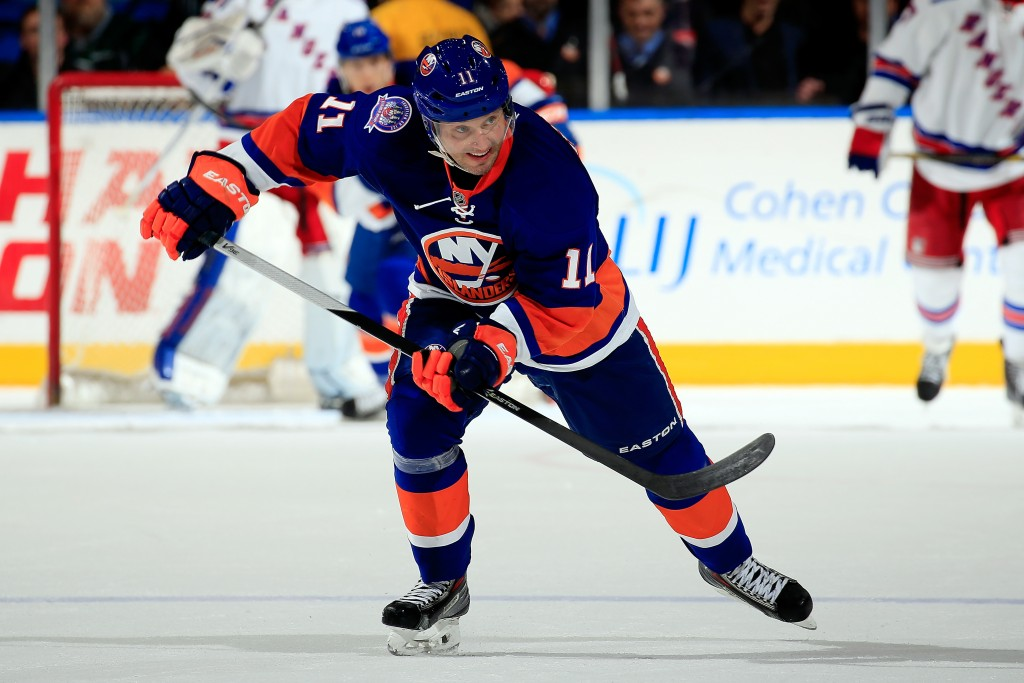 UNIONDALE, NY - MARCH 10:  Lubomir Visnovsky #11 of the New York Islanders skates against the New York Rangers during a game at the Nassau Veterans Memorial Coliseum on March 10, 2015 in Uniondale, New York.  (Photo by Alex Trautwig/Getty Images)