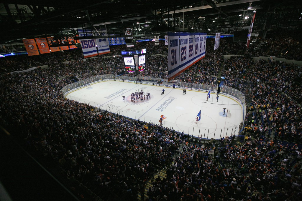 in Game Six of the Eastern Conference Quarterfinals during the 2015 NHL Stanley Cup Playoffs at the Nassau Veterans Memorial Coliseum on April 25, 2015 in Uniondale, New York.