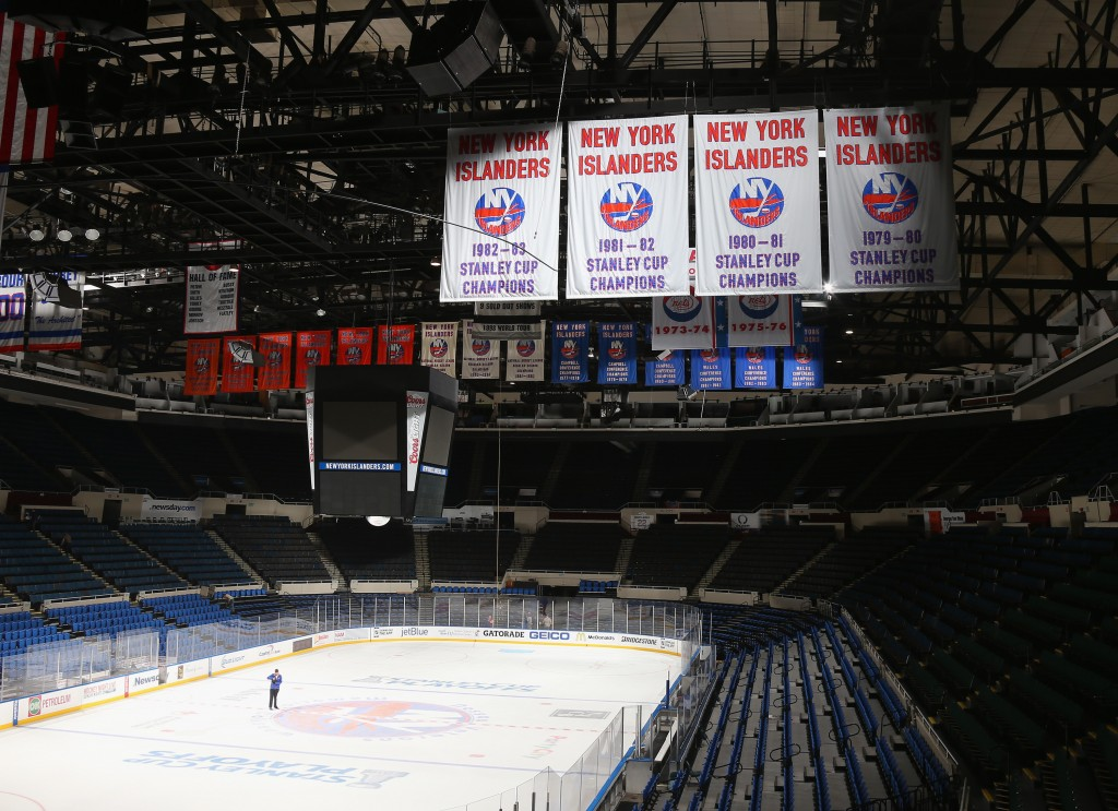 UNIONDALE, NY - MAY 05:  A general view prior to the removal of the rink from the Nassau Coliseum on May 5, 2015 in Uniondale, New York. The New York Islanders have played their last game at the Nassau Coliseum and will begin to play at the Barclay's Center in the Brooklyn borough of New York City next season.  (Photo by Bruce Bennett/Getty Images)