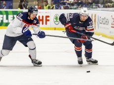 OSTRAVA, CZECH REPUBLIC - MAY 12:  Brock Nelson (R) of United States and Richard Panik (L) of Slovakia battle for the puck during the IIHF World Championship group B match between United States and Slovakia at CEZ Arena on May 12, 2015 in Ostrava, Czech Republic.  (Photo by Matej Divizna/Getty Images)