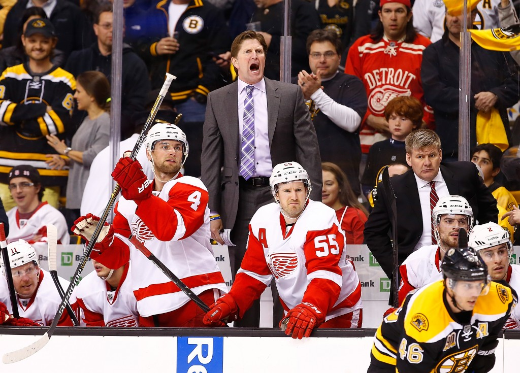 BOSTON, MA - APRIL 18: Head coach Mike Babcock of the Detroit Red Wings yells to his players in the final minute of the third period against the Boston Bruins in Game One of the First Round of the 2014 NHL Stanley Cup Playoffs at TD Garden on April 18, 2014 in Boston, Massachusetts.  (Photo by Jared Wickerham/Getty Images)