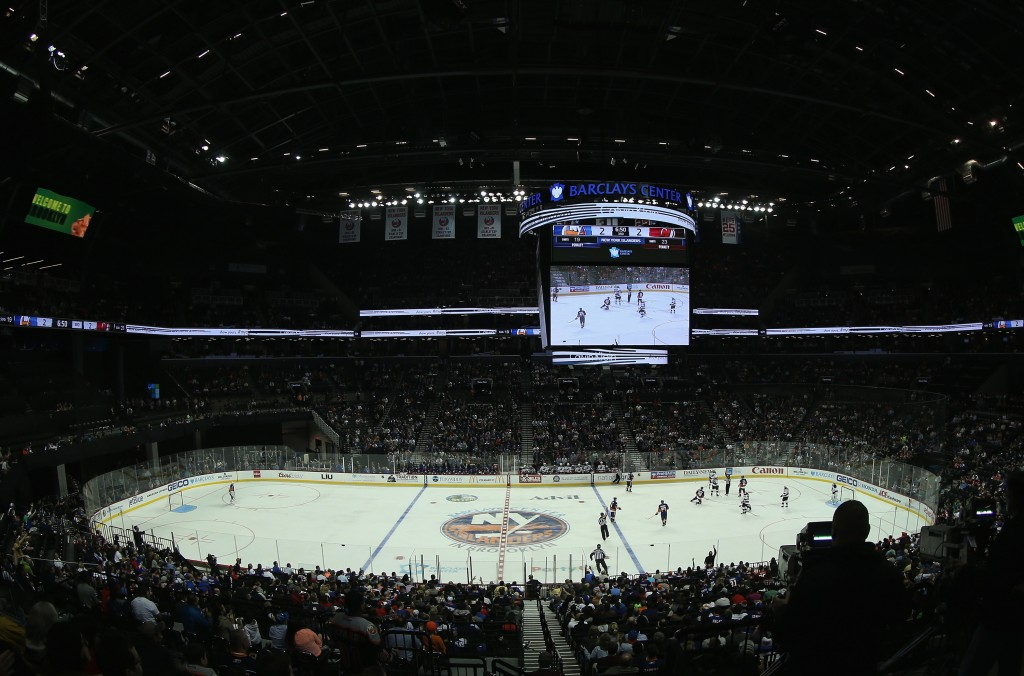 NEW YORK, NY - SEPTEMBER 26:  A general view of the game between the New York Islanders and the New Jersey Devils at the Barclays Center on September 26, 2014 in the Brooklyn borough of New York City. The Islanders defeated the Devils 3-2 in the shootout.  (Photo by Bruce Bennett/Getty Images)