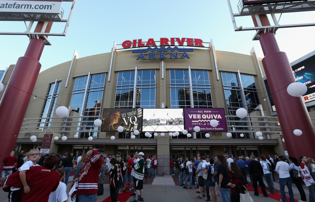 GLENDALE, AZ - OCTOBER 09:  Fans line up outside of Gila River Arena before the NHL game between the Arizona Coyotes and the Winnipeg Jets on October 9, 2014 in Glendale, Arizona.  The Jets defeated the Coyotes 6-2.  (Photo by Christian Petersen/Getty Images)