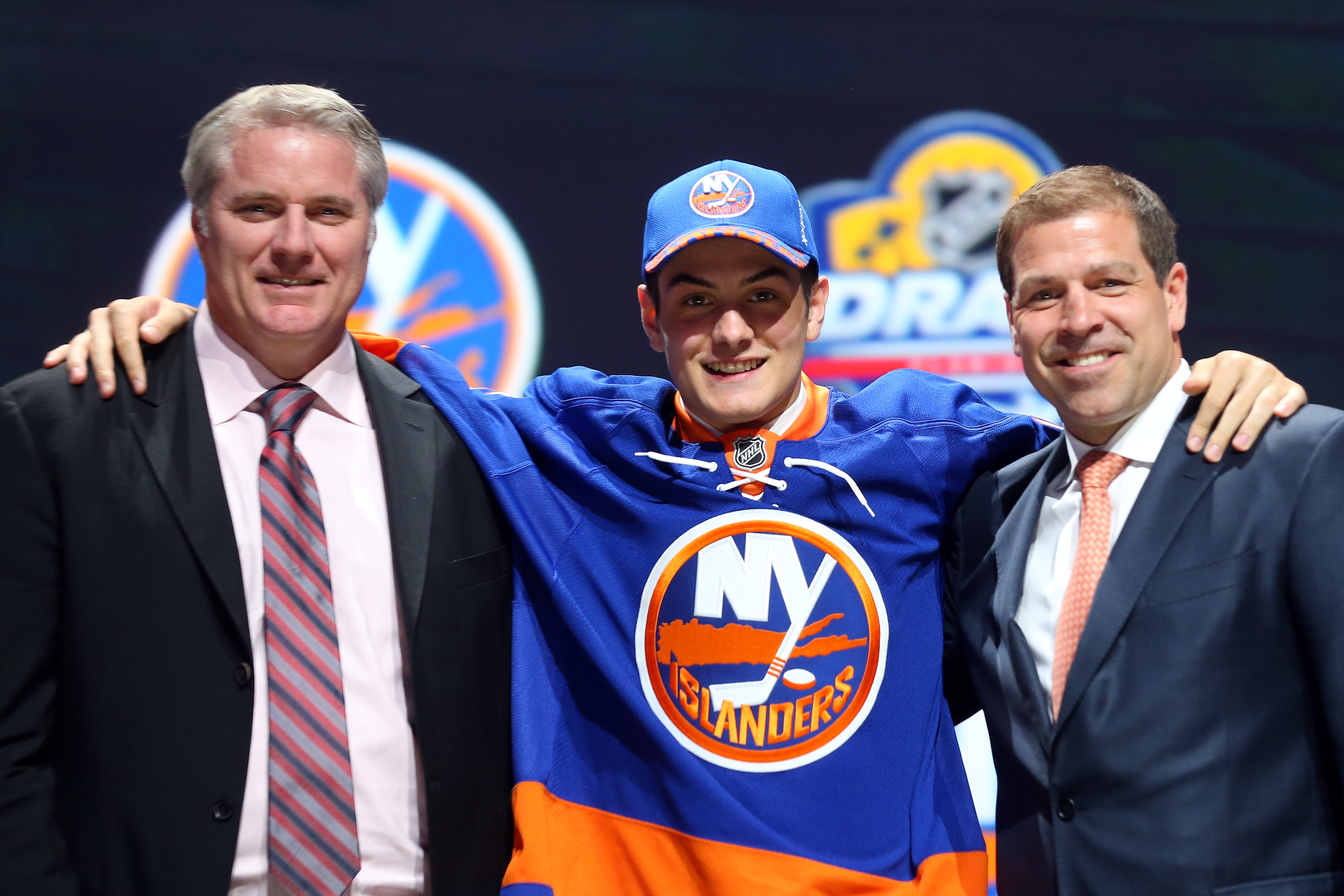 SUNRISE, FL - JUNE 26:  Mathew Barzal poses after being selected 16th overall by the New York Islanders in the first round of the 2015 NHL Draft at BB&T Center on June 26, 2015 in Sunrise, Florida.  (Photo by Bruce Bennett/Getty Images)