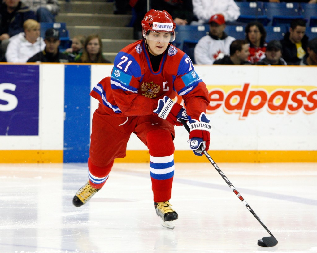 SASKATOON, SK - JANUARY 4:  Kirill Petrov #21 of Team Russia skates with the puck during the 2010 IIHF World Junior Championship Tournament Fifth Place game against Team Finland on January 4, 2010 at the Credit Union Centre in Saskatoon, Saskatchewan, Canada.  (Photo by Richard Wolowicz/Getty Images)