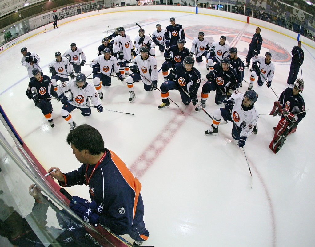 SYOSSET, NY - JULY 15: Coach Jack Capuano of the Bridgeport Sound Tigers, a New York Islanders affiliate, gives drill instructions during a mini camp at Iceworks July 15, 2008 in Syosset, New York.  (Photo by Bruce Bennett/Getty Images)