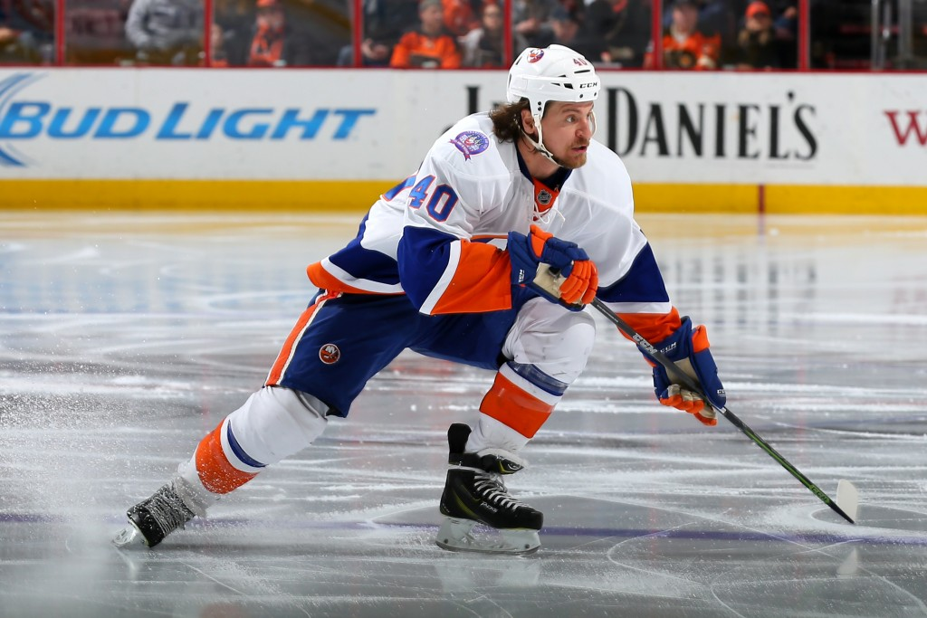 PHILADELPHIA, PA - FEBRUARY 05: Michael Grabner #40 of the New York Islanders in action against the Philadelphia Flyers at Wells Fargo Center on February 5, 2015 in Philadelphia, Pennsylvania. The New York Islanders won, 3-2, in a shootout. (Photo by Patrick Smith/Getty Images)
