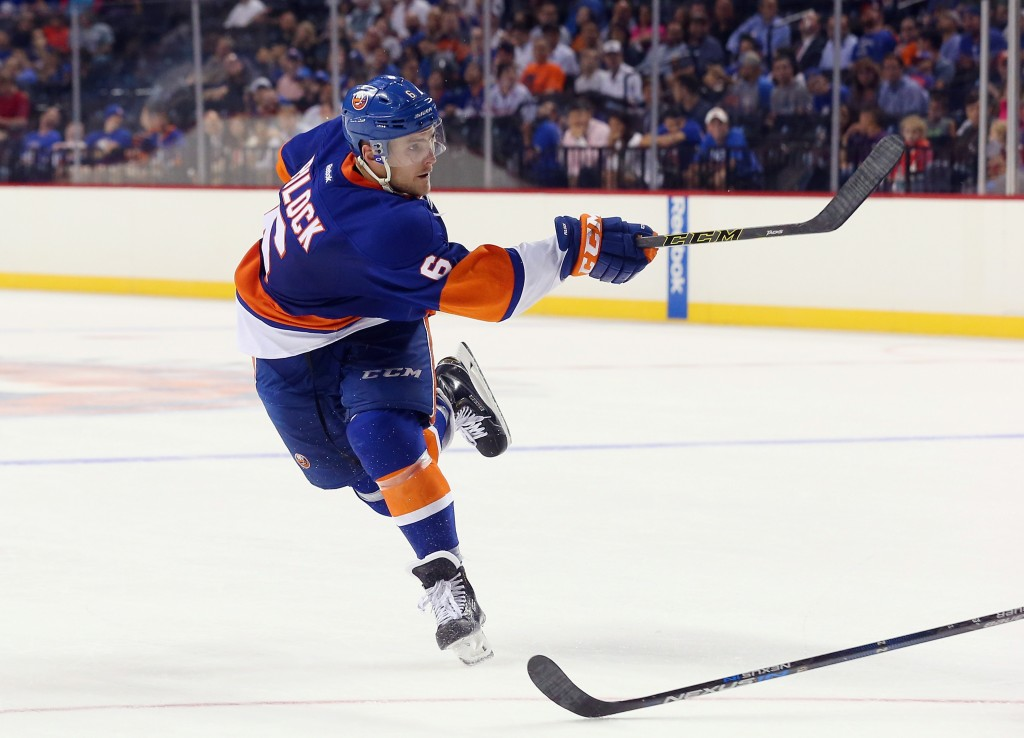 NEW YORK, NY - JULY 08: Ryan Pulock #6 skates in the 2015 New York Islanders Blue & White Rookie Scrimmage & Skills Competition at the Barclays Center on July 8, 2015 in Brooklyn borough of New York City.  (Photo by Bruce Bennett/Getty Images)