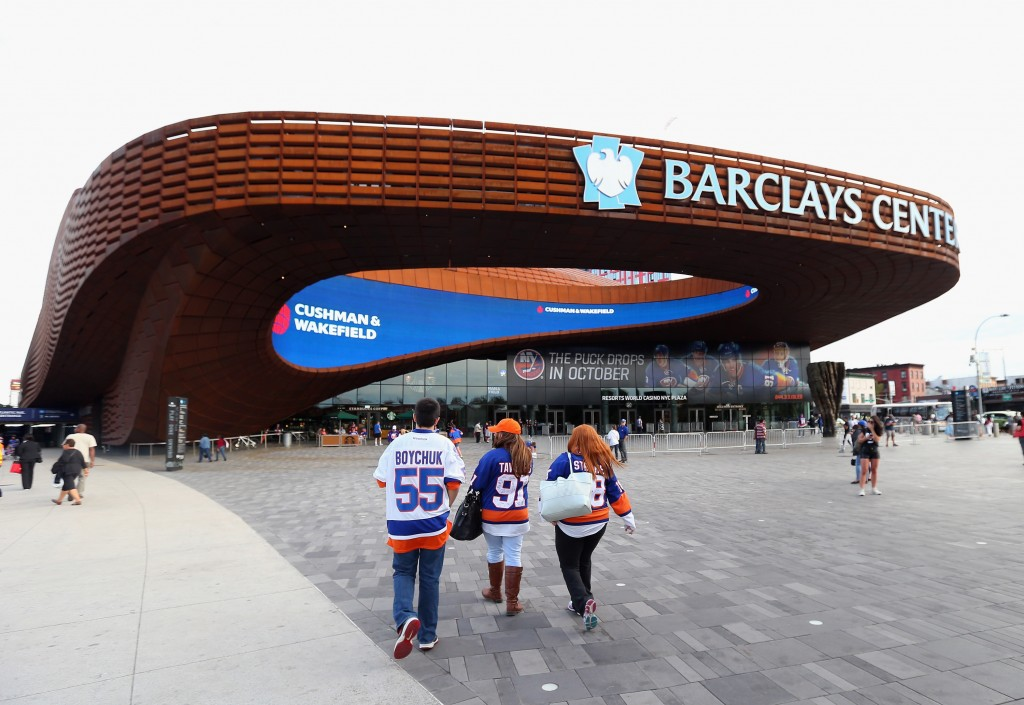 NEW YORK, NY - SEPTEMBER 21:  Fans arrive for the game between the New York Islanders and the Philadelphia Flyers at the Barclays Center on September 21, 2015 in the Brooklyn borough of New York City.  (Photo by Bruce Bennett/Getty Images)