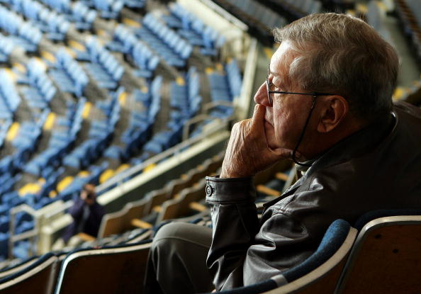 UNIONDALE, NY - NOVEMBER 02:  Hall of Famer and former head coach of the New York Islanders Al Arbour watches the islanders practice before a press conference on November 2, 2007 at Nassau Coliseum in Uniondale, New York. Arbour signed a one game contract and will coach his 1,500th game for the Islanders on November 3, 2007 against the Pittsburgh Penquins.  (Photo by Jim McIsaac/Getty Images)