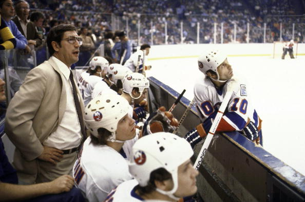 UNITED STATES - MAY 17:  Hockey: Stanley Cup finals, New York Islanders coach Al Arbour on bench with team during game vs Philadelphia Flyers, Uniondale, NY 5/17/1980  (Photo by George Tiedemann/Sports Illustrated/Getty Images)  (SetNumber: X24518)