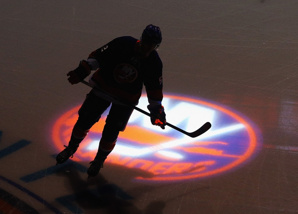 NEW YORK, NY - JULY 08: A player skates in warmups prior to the 2015 New York Islanders Blue & White Rookie Scrimmage & Skills Competition at the Barclays Center on July 8, 2015 in Brooklyn borough of New York City.  (Photo by Bruce Bennett/Getty Images)