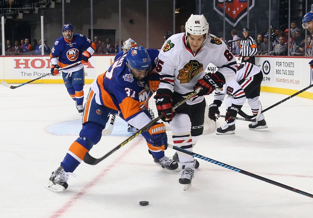 skates against the New York Islanders at the Barclays Center on October 9, 2015 in Brooklyn borough of New York City. The game is the first for the Islanders in their new arena. The Blackhawks defeated the Islanders 3-2 in overtime.