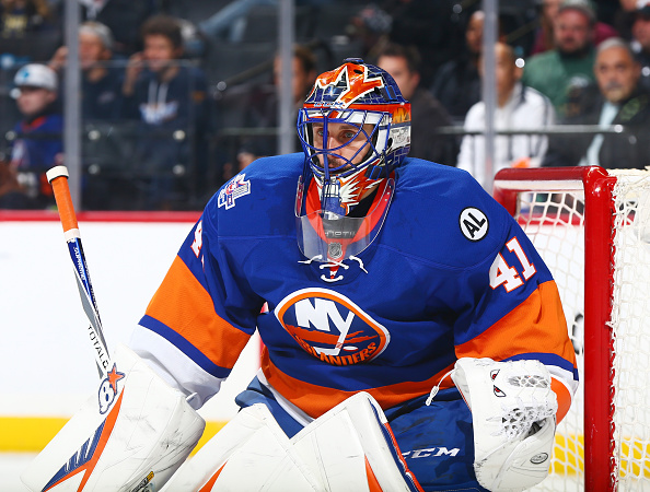 NEW YORK, NY - OCTOBER 17: Jaroslav Halak #41 of the New York Islanders playing in his first game of the season defends his net against the San Jose Sharks during the game at the Barclays Center on October 17, 2015 in the Brooklyn borough of New York City. (Photo by Andy Marlin/NHLI via Getty Images)