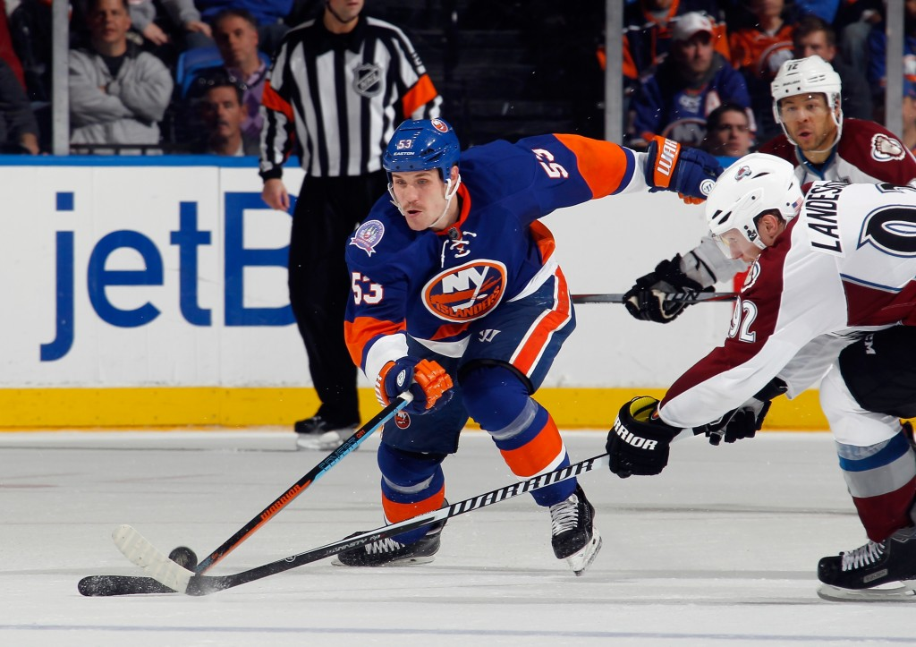UNIONDALE, NY - NOVEMBER 11: Casey Cizikas #53 of the New York Islanders skates against the Colorado Avalanche at the Nassau Veterans Memorial Coliseum on November 11, 2014 in Uniondale, New York. The Islanders shutout the Avalanche 6-0.  (Photo by Bruce Bennett/Getty Images)