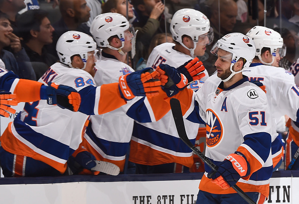TORONTO, ON - DECEMBER 29:  Frans Nielsen #51 of the New York Islanders celebrates a first period goal with teammates during NHL game action against the Toronto Maple Leafs December 29, 2015 at Air Canada Centre in Toronto, Ontario, Canada. (Photo by Graig Abel/NHLI  via Getty Images)