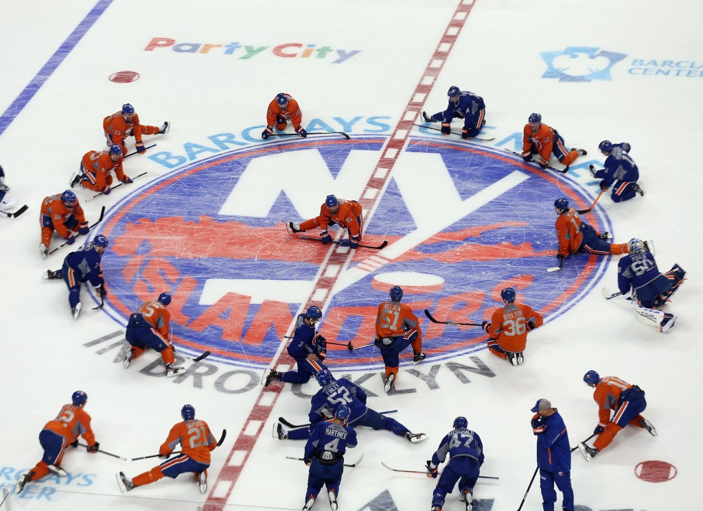 NEW YORK, NY - SEPTEMBER 12:  The New York Islanders take part in their first practice at the Barclays Center on September 12, 2013 in Brooklyn borough of New York City. The Islanders are due to move into the building at the start of the 2015-16 season.  (Photo by Bruce Bennett/Getty Images)