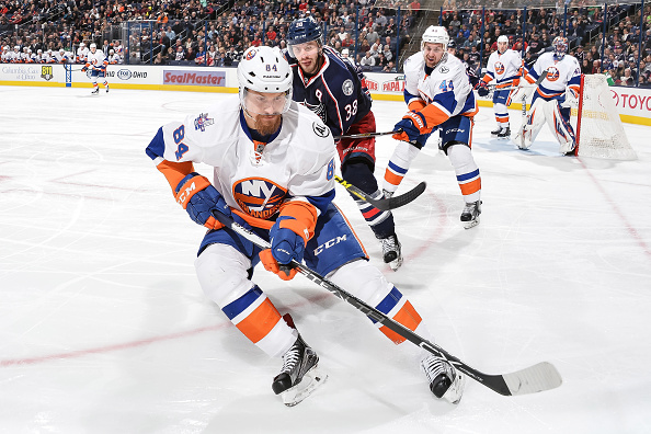 COLUMBUS, OH - FEBRUARY 9:  Mikhail Grabovski #84 of the New York Islanders skates against the Columbus Blue Jackets on February 9, 2016 at Nationwide Arena in Columbus, Ohio.  (Photo by Jamie Sabau/NHLI via Getty Images)