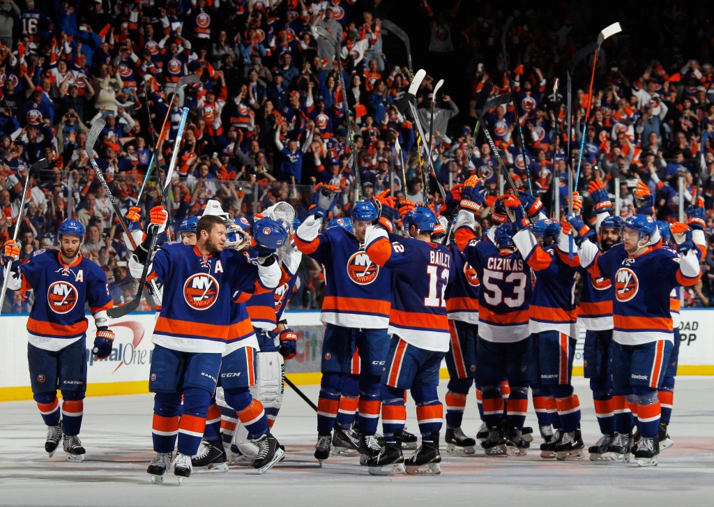 UNIONDALE, NY - APRIL 25: The New York Islanders celebrate their 3-1 victory over the Washington Capitals in Game Six of the Eastern Conference Quarterfinals during the 2015 NHL Stanley Cup Playoffs at the Nassau Veterans Memorial Coliseum on April 25, 2015 in Uniondale, New York.</p /> </p><!-- google_ad_section_end --></div>     <div class=