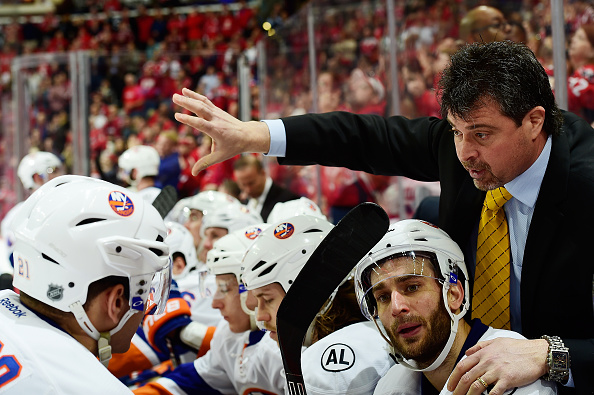WASHINGTON, DC - APRIL 05:  New York Islanders head coach Jack Capuano talks to his players on the bench in the third period during their game against the Washington Capitals at Verizon Center on April 5, 2016 in Washington, DC.  (Photo by Patrick McDermott/NHLI via Getty Images)