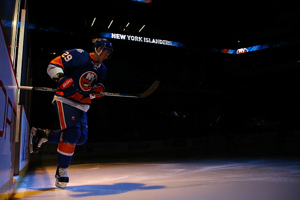 NEW YORK, NY - APRIL 04:  Brock Nelson #29 of the New York Islanders is introduced prior to the game against the Tampa Bay Lightning at the Barclays Center on April 4, 2016 in Brooklyn borough of New York City. The Islanders defeated the the Lightning 5-2.  (Photo by Mike Stobe/NHLI via Getty Images)