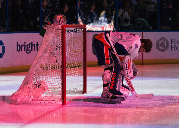 TAMPA, FL - APRIL 27:  Goalie Thomas Greiss #1 of the New York Islanders observes the National Anthem before the game against the Tampa Bay Lightning in Game One of the Eastern Conference Second Round in the 2016 NHL Stanley Cup Playoffs at the Amalie Arena on April 27, 2016 in Tampa, Florida.  (Photo by Scott Audette/NHLI via Getty Images)