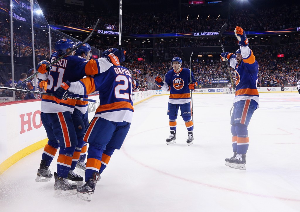 NEW YORK, NEW YORK - APRIL 17: The New York Islanders celebrate a powerplay goal by Frans Nielsen #51 at 16:55 of the second period against the Florida Panthers during Game Three of the Eastern Conference Quarterfinals during the 2015 NHL Stanley Cup Playoffs at the Barclays Center on April 17, 2016 in the Brooklyn borough of New York City.</p /> </p><!-- google_ad_section_end --></div>     <div class=