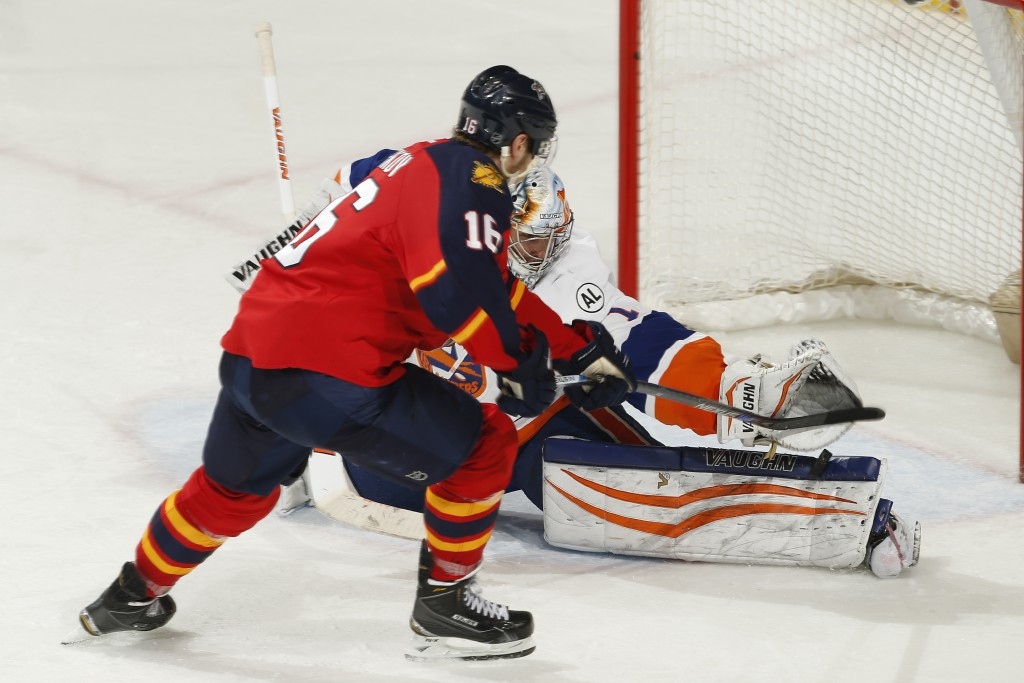 SUNRISE, FL - APRIL 22: Goaltender Thomas Greiss #1 of the New York Islanders stops a penalty shot by Aleksander Barkov #16 of the Florida Panthers during the first overtime period in Game Five of the Eastern Conference First Round during the 2016 NHL Stanley Cup Playoffs at the BB&T Center on April 22, 2016 in Sunrise, Florida. (Photo by Joel Auerbach/Getty Images)