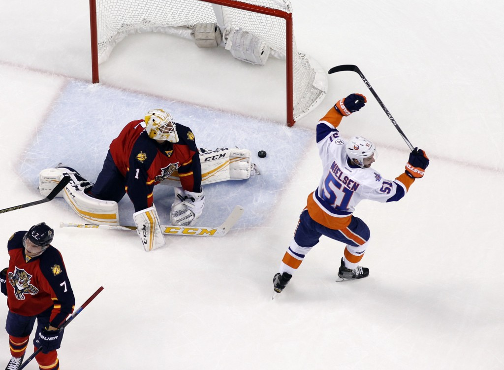 SUNRISE, FL - APRIL 22: Frans Nielsen #51 of the New York Islanders raises his stick to celebrate the first period goal against Goaltender Roberto Luongo #1 of the Florida Panthers in Game Five of the Eastern Conference First Round during the 2016 NHL Stanley Cup Playoffs at the BB&amp;T Center on April 22, 2016 in Sunrise, Florida. The Islanders defeated the Panthers 2-1 in double overtime.</p /> </p><!-- google_ad_section_end --></div>     <div class=