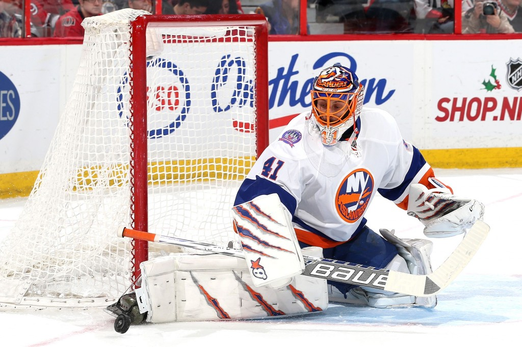 OTTAWA, ON - DECEMBER 4: Jaroslav Halak #41 of the New York Islanders makes a toe save in the second period during an NHL game against the Ottawa Senators at Canadian Tire Centre on December 4, 2014 in Ottawa, Ontario, Canada.</p /> </p><!-- google_ad_section_end --></div>     <div class=