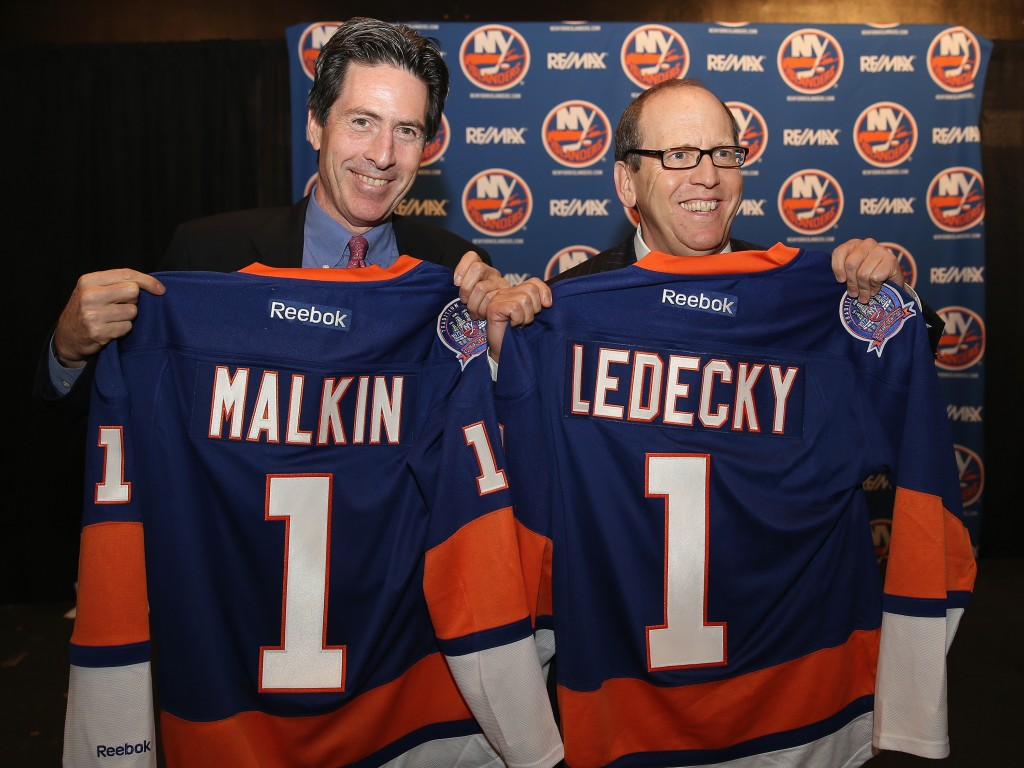 UNIONDALE, NY - OCTOBER 22:  New York Islanders partners Scott Malkin (L) and Jon Ledecky (R) pose for a photo opportunity during a press conference at Nassau Coliseum on October 22, 2014 in Uniondale, New York.</p /> </p><!-- google_ad_section_end --></div>     <div class=
