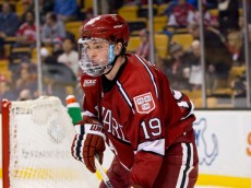 BOSTON, MA - FEBRUARY 3: Jimmy Vesey #19 of the Harvard Crimson skates against the Boston University Terriers during NCAA hockey in the semifinals of the annual Beanpot Hockey Tournament at TD Garden on February 3, 2015 in Boston, Massachusetts.  The Terriers won 3-2 in double overtime. (Photo by Richard T Gagnon/Getty Images)