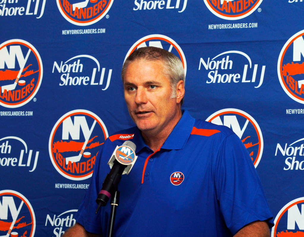 BETHPAGE, NY - SEPTEMBER 09:  General Manager of the New York Islanders Garth Snow addresses the media during a press conference naming John Tavares the New York Islanders team captain at Carlyle on the Green on September 9, 2013 in Bethpage, New York.  (Photo by Andy Marlin/Getty Images)