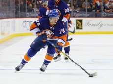 NEW YORK, NY - OCTOBER 16:  Anthony Beauvillier #72 of the New York Islanders skates against the Anaheim Ducks at the Barclays Center on October 16, 2016 in the Brooklyn borough of New York City. The Islanders defeated the Ducks 3-2 in overtime.  (Photo by Bruce Bennett/Getty Images)