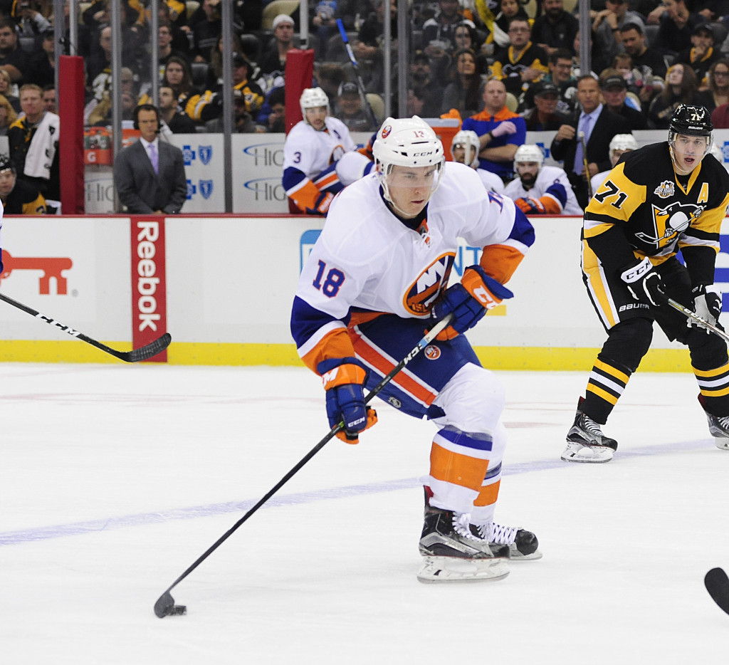 PITTSBURGH, PA - OCTOBER 27: Ryan Strome #18 of the New York Islanders skates with the puck against the Pittsburgh Penguins at PPG PAINTS Arena on October 27, 2016 in Pittsburgh, Pennsylvania. (Photo by Matt Kincaid/Getty Images)