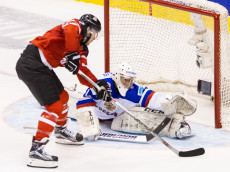 TORONTO, ON - JANUARY 05: Forward Frederik Gauthier #22 of Canada moves the puck against goaltender Ilya Sorokin #1 of Russia during the Gold medal game of the 2015 IIHF World Junior Championship on January 05, 2015 at the Air Canada Centre in Toronto, Ontario, Canada. (Photo by Dennis Pajot/Getty Images)