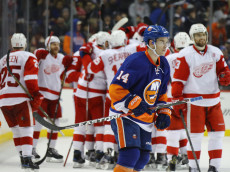 NEW YORK, NY - DECEMBER 04: Thomas Hickey #14 of the New York Islanders leaves the ice following a 4-3 loss to the Detroit Red Wings skates against the New York Islanders at the Barclays Center on December 4, 2016 in the Brooklyn borough of New York City. The Red Wings defeated the Islanders 4-3 in overtime.  (Photo by Bruce Bennett/Getty Images)