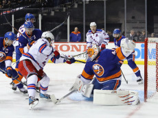 NEW YORK, NY - DECEMBER 06: Jaroslav Halak #41 of the New York Islanders makes the first period save on Mats Zuccarello #36 of the New York Rangers at the Barclays Center on December 6, 2016 in the Brooklyn borough of New York City.  (Photo by Bruce Bennett/Getty Images)