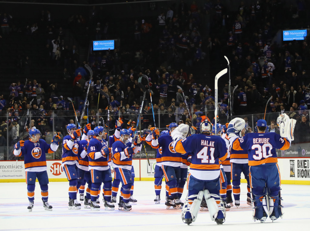 NEW YORK, NY - DECEMBER 06: The New York Islanders celebrate a 4-2 victory over the New York Rangers at the Barclays Center on December 6, 2016 in the Brooklyn borough of New York City.  (Photo by Bruce Bennett/Getty Images)