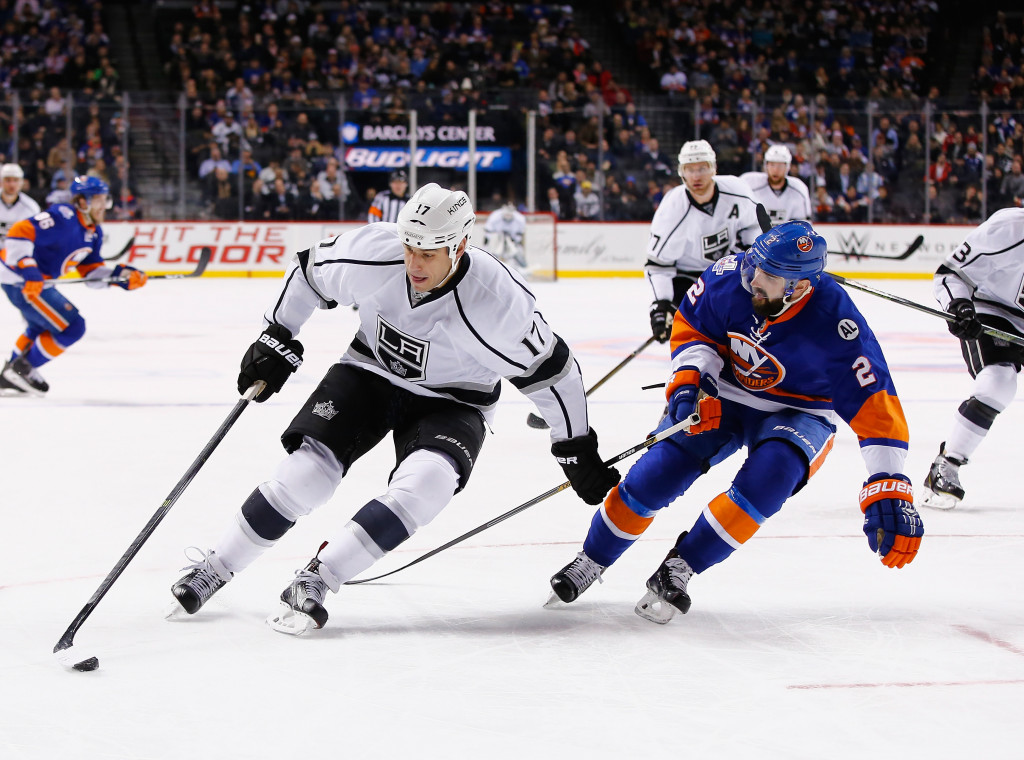 NEW YORK, NY - FEBRUARY 11:  Milan Lucic #17 of the Los Angeles Kings skates against Nick Leddy #2 of the New York Islanders during their game at the Barclays Center on February 11, 2016 in New York City.  (Photo by Al Bello/Getty Images)