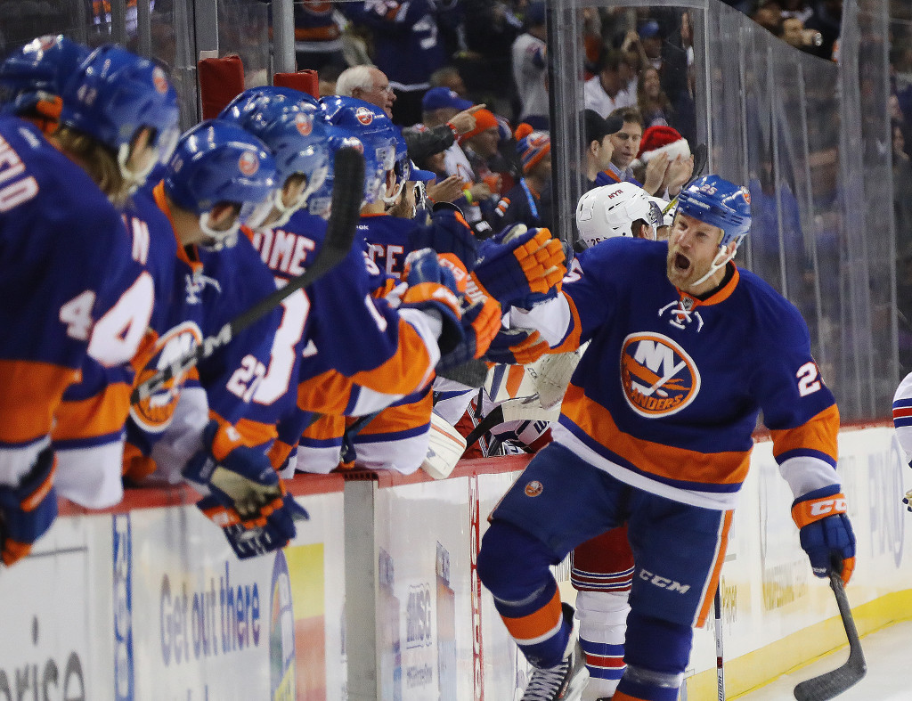 NEW YORK, NY - DECEMBER 06:  Jason Chimera #25 of the New York Islanders celebrates his goal at 17:24 of the first period against the New York Rangers at the Barclays Center on December 6, 2016 in the Brooklyn borough of New York City.  (Photo by Bruce Bennett/Getty Images)