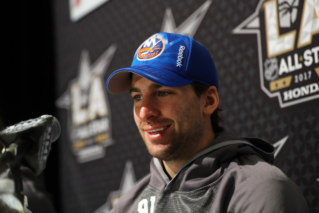 LOS ANGELES, CA - JANUARY 28:  John Tavares #91 of the New York Islanders speaks to the media during 2017 NHL All-Star Media Day as part of the 2017 NHL All-Star Weekend at the JW Marriott on January 28, 2017 in Los Angeles, California.</p /> </p><!-- google_ad_section_end --></div>     <div class=