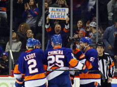 NEW YORK, NY - FEBRUARY 12: The New York Islanders celebrate a third period goal by Jason Chimera #25 against the Colorado Avalanche at the Barclays Center on February 12, 2017 in the Brooklyn borough of New York City. The Islanders defeated the Avalanche 5-1.  (Photo by Bruce Bennett/Getty Images)