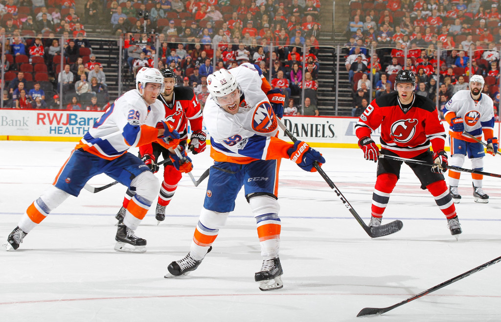 NEWARK, NJ - FEBRUARY 18:  Johnny Boychuk #55 of the New York Islanders in action against the New Jersey Devils on February 18, 2017 at Prudential Center in Newark, New Jersey. The Devils defeated the Islanders 3-2.</p /> </p><!-- google_ad_section_end --></div>     <div class=