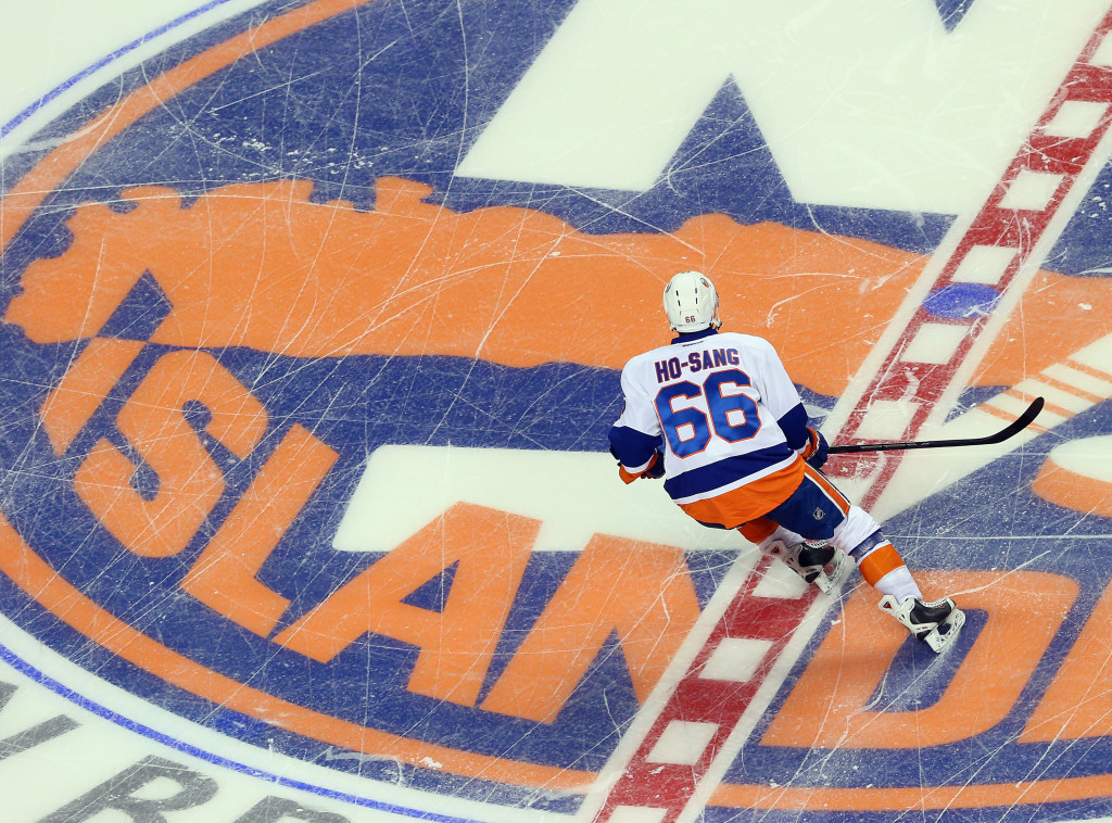 NEW YORK, NY - JULY 08:  Joshua Ho-Sang #66 skates in the 2015 New York Islanders Blue & White Rookie Scrimmage & Skills Competition at the Barclays Center on July 8, 2015 in Brooklyn borough of New York City.  (Photo by Bruce Bennett/Getty Images)