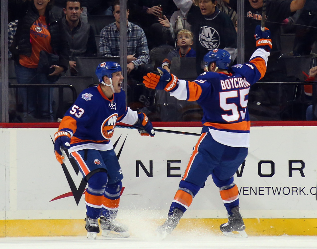 NEW YORK, NY - OCTOBER 23: Casey Cizikas #53 of the New York Islanders celebrates his first period goal against the Boston Bruins along with Johnny Boychuk #55 at the Barclays Center on October 23, 2015 in the Brooklyn borough of New York City.</p /> </p><!-- google_ad_section_end --></div>     <div class=
