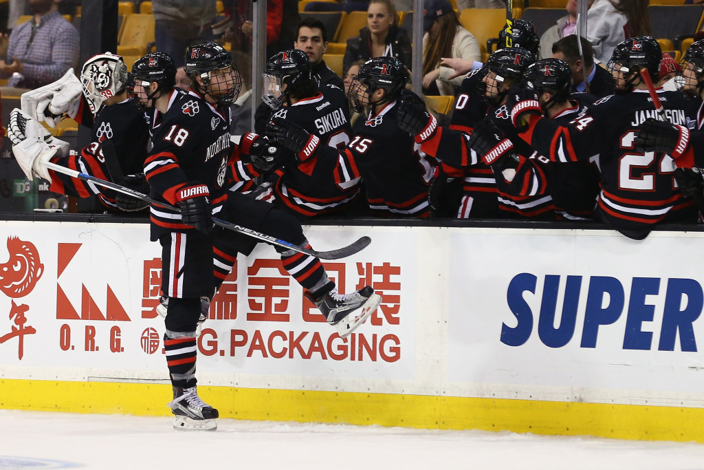 BOSTON, MA - FEBRUARY 01:  John Stevens #18 of the Northeastern Huskies celebrates after scoring against the Boston University Terriers during the third period at TD Garden on February 1, 2016 in Boston, Massachusetts. The Terriers defeat the Huskies 3-1.  (Photo by Maddie Meyer/Getty Images)