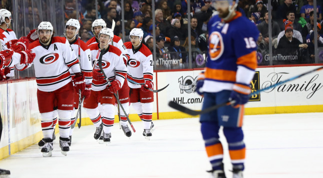 NEW YORK, NY - MARCH 13:  Jeff Skinner #53 of the Carolina Hurricanes celebrates his goal against the New York Islanders during their game at the Barclays Center on March 13, 2017 in New York City.  (Photo by Al Bello/Getty Images)